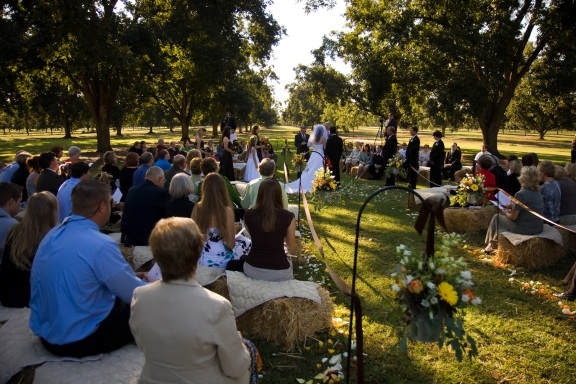 Hay Bale seating for wedding in Orchard
