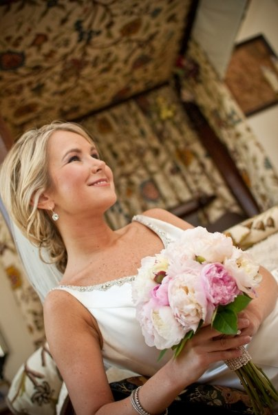 Bride in Vintage bedroom at Pineola
